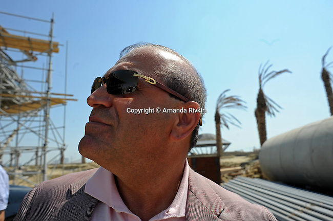 Ibrahim Ibrahimov, an Azerbaijani oligarch and billionaire, is seen on site of the of the Khazar Islands project near Sahil, Azerbaijan on July 18, 2012.  The brainchild of Ibrahimov, the artificial Khazar Islands project just southwest of the Azerbaijani capital Baku is being built at a projected cost of $100 billion with an anticipated 800,000 housing units.