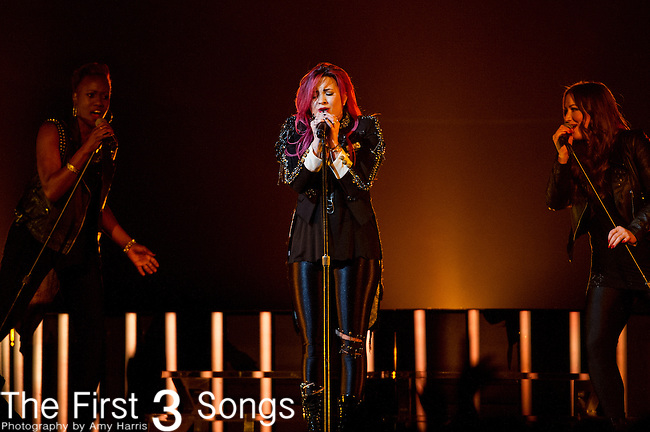 Demi Lovato performs at Bankers Life Fieldhouse in Indianapolis, Indiana.