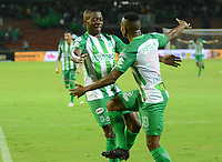 MEDELLÍN - COLOMBIA ,21-10-2018:Helibelton Palacios (Izq.) jugador del Atlético Nacional celebra su gol contra el Atlético Junior durante partido por la fecha 16 de la Liga Águila II 2018 jugado en el estadio Atanasio Girardot de la ciudad de Medellín. / Helibelton Palacios  (L) player of Atletico Nacional celebrates his goal agaisnt of Atletico Junior  during the match for the date 16 of the Liga Aguila II 2018 played at the Atanasio Girardot  Stadium in Medellin  city. Photo: VizzorImage /León Monsalve / Contribuidor.