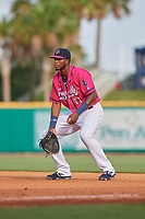 Pensacola Blue Wahoos first baseman Lewin Diaz (11) during a Southern League game against the Mobile BayBears on July 25, 2019 at Blue Wahoos Stadium in Pensacola, Florida.  Pensacola defeated Mobile 2-1 in the first game of a doubleheader.  (Mike Janes/Four Seam Images)