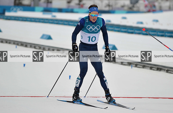 Andrew Musgrave (GBR, 10) crosses the finish line. Mens 15km Skiathlon. Cross country skiing. Pyeongchang2018 winter Olympics. Alpensia cross country centre. Alpensia. Gangneung. Republic of Korea. 11/02/2018. ~ MANDATORY CREDIT Garry Bowden/SIPPA - NO UNAUTHORISED USE - +44 7837 394578