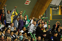 The crowd celebrates Regan Ware's first-up successful free throw from the halfway at halftime. NBL  - Manawatu Jets  v Wellington Saints at Arena Manawatu, Palmerston North, New Zealand on Friday 17 June 2011. Photo: Dave Lintott / lintottphoto.co.nz