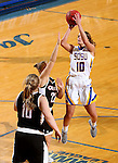 BROOKINGS, SD - JANUARY 7:  Kerri Young #10 from South Dakota State spots up for a jumper over Mikaela Shaw #22 from the University of Nebraska Omaha during their game Saturday afternoon at Frost Arena in Brookings. (Dave Eggen/Inertia)