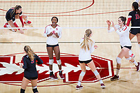 STANFORD, CA - November 4, 2018: Tami Alade, Audriana Fitzmorris, Jenna Gray, Morgan Hentz at Maples Pavilion. No. 2 Stanford Cardinal defeated the Utah Utes 3-0.