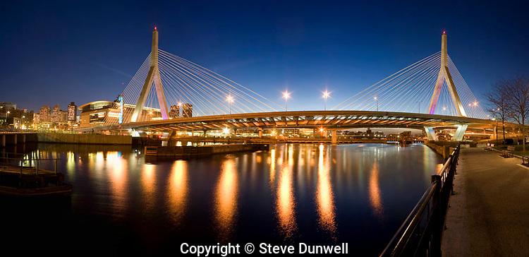 Zakim bridge panorama night, boston,MA (Christian Menn = engineer)