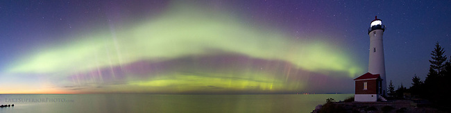 Crisp Point Lighthouse double arc aurora panorama