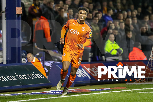 GOAL - James Justin of Luton Town celebrates after he scores the opening goal during the Sky Bet League 1 match between Luton Town and Bradford City at Kenilworth Road, Luton, England on 27 November 2018. Photo by David Horn.