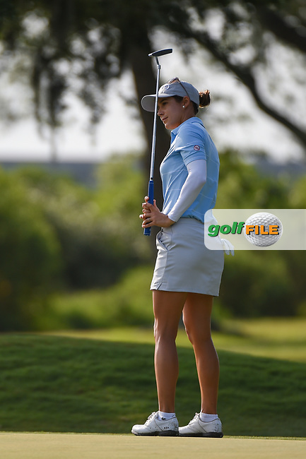 Azahara Munoz (ESP) watches her putt on 10 during round 2 of the 2019 US Women's Open, Charleston Country Club, Charleston, South Carolina,  USA. 5/31/2019.<br /> Picture: Golffile   Ken Murray<br /> <br /> All photo usage must carry mandatory copyright credit (© Golffile   Ken Murray)