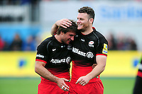 Marcelo Bosch and Duncan Taylor of Saracens celebrate after the match. Aviva Premiership semi final, between Saracens and Leicester Tigers on May 21, 2016 at Allianz Park in London, England. Photo by: Patrick Khachfe / JMP
