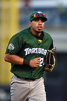 Daytona Tortugas outfielder Sebastian Elizalde (24) jogs into the dugout during a game against the Tampa Yankees on April 24, 2015 at George M. Steinbrenner Field in Tampa, Florida.  Tampa defeated Daytona 12-7.  (Mike Janes/Four Seam Images)