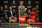 (L-r) Laura Bush speaks on a stage shared by David Lane of the One Campaign, former U.S. Senator Bill Frist, Cindy McCain and Princess Zulu of Zambia at an event for the One Campaign at the Minneapolis Convention Center in Minneapolis, Minnesota on September 2, 2008.