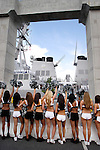 PHILADELPHIA - JUNE 30: Philadelphia Eagles cheerleaders cheer as the USS Cole enters port June 30, 2005 in Philadelphia, Pennsylvania. The USS Cole, which was heavily damaged by a terrorist bombing in Yemen in October 2000 is in Philadelphia through July 4th as part of the city's Let Freedom Ring Celebration. (Photo by  William Thomas Cain/Getty Images)