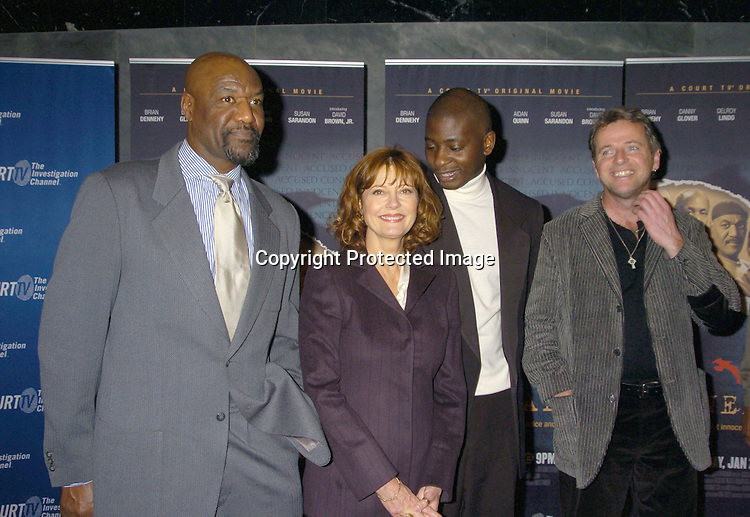"Delroy Lindo, Susan Sarandon, David Brown, Jr and Aidan ..Quinn ..at The New York Permiere of the Court TV Original Movie   ""The Exonerated"" at The Museum of TV and Radio on ..January 25, 2005. ..Photo by Robin Platzer, Twin Images"
