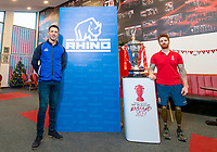 Picture by Allan McKenzie/SWpix.com - 18/12/2018 - Commercial - Rugby League - Rugby League World Cup 2021 Rhino partnership - Hatton Solicitors Crusader Park, Thatto Heath, England - Paul Sculthorpe with James Simpson and the Rugby League World Cup trophy inside the Thatto Heath Crusdaers facility.
