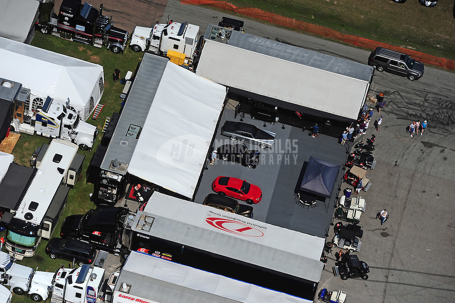 Apr. 28, 2012; Baytown, TX, USA: Aerial view of the pit area of NHRA pro stock driver Erica Enders during qualifying for the Spring Nationals at Royal Purple Raceway. Mandatory Credit: Mark J. Rebilas-