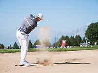 Bernd Wiesberger (AUT) from the bunker on the 17th holeduring second round at the Omega European Masters, Golf Club Crans-sur-Sierre, Crans-Montana, Valais, Switzerland. 30/08/19.<br /> Picture Stefano DiMaria / Golffile.ie<br /> <br /> All photo usage must carry mandatory copyright credit (© Golffile | Stefano DiMaria)
