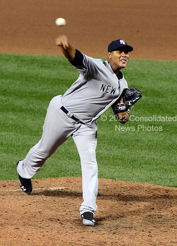 New York Yankees pitcher Ivan Nova (47) pitches in the sixth inning against the Baltimore Orioles at Oriole Park at Camden Yards in Baltimore, MD on Monday, April 9, 2012..Credit: Ron Sachs / CNP.(RESTRICTION: NO New York or New Jersey Newspapers or newspapers within a 75 mile radius of New York City)