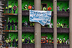 BOSTON, MA - OCTOBER 31: Construction workers cheer during the Boston Red Sox's World Series victory parade in Boston, Massachusetts on October 31, 2018. (Staff photo by Christopher Evans)