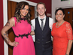 Gary Saurin celebrating his 21st birthday in Brú with sister Rhona and mam Geraldine. Photo:Colin Bell/pressphotos.ie