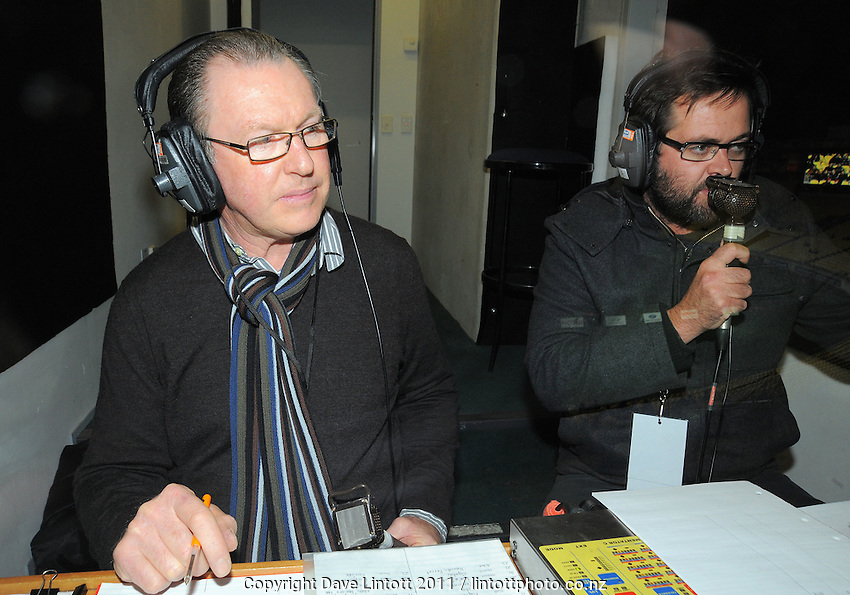 Skysports commentators Stu Wilson and Scotty Stevenson. ITM Cup rugby union - Wellington Lions v Northland at Westpac Stadium, Wellington, New Zealand on Wednesday, 10 August 2011. Photo: Dave Lintott / lintottphoto.co.nz