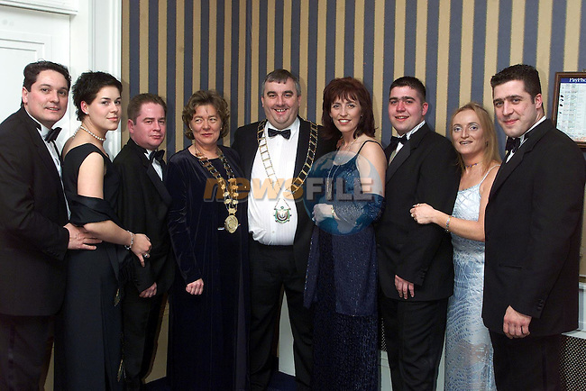 Brian Browning, Sinead Sarsfield, Jimmy Herbert, Olive Sarsfield, Mayor Sean Collins and his wife Linda, Colman Sarsfield, Ashling Brady and Seamus Sarsfield at the Louth Vinters Dinner Dance in the Europa Hotel. .Picture Paul Mohan Newsfile