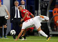 SARANSK - RUSIA, 25-06-2018: Omid EBRAHIMI (Der) jugador de RI de Irán disputa el balón con Joao MARIO (Izq) jugador de Portugal durante partido de la primera fase, Grupo B, por la Copa Mundial de la FIFA Rusia 2018 jugado en el estadio Mordovia Arena en Saransk, Rusia. /  Omid EBRAHIMI (R) player of IR Iran fights the ball with Joao MARIO (L) player of Portugal during match of the first phase, Group B, for the FIFA World Cup Russia 2018 played at Mordovia Arena stadium in Saransk, Russia. Photo: VizzorImage / Julian Medina / Cont