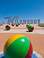 Wildwoods Sign and Colorful Beach Balls on the boardwalk in Wildwood, New Jersey