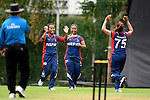 Sabnam Rai (r) of Nepal celebrates with teammates during their ICC 2016 Women's World Cup Asia Qualifier match between China and Nepal  on 11 October 2016 at the Kowloon Cricket Club in Hong Kong, China. Photo by Marcio Machado / Power Sport Images