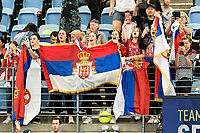 11th January 2020; Sydney Olympic Park Tennis Centre, Sydney, New South Wales, Australia; ATP Cup Australia, Sydney, Day 9; Serbia versus Russia;  Novak Djokovic versus Daniil Medvedev; Serbian fans cheer on Novak Djokovic of Serbia - Editorial Use