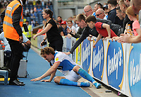 Fans try to help Blackburn Rovers' Sam Gallagher up after he clashes with the advertising hoardings<br /> <br /> Photographer Kevin Barnes/CameraSport<br /> <br /> The EFL Sky Bet Championship - Blackburn Rovers v Charlton Athletic - Saturday 3rd August 2019 - Ewood Park - Blackburn<br /> <br /> World Copyright © 2019 CameraSport. All rights reserved. 43 Linden Ave. Countesthorpe. Leicester. England. LE8 5PG - Tel: +44 (0) 116 277 4147 - admin@camerasport.com - www.camerasport.com