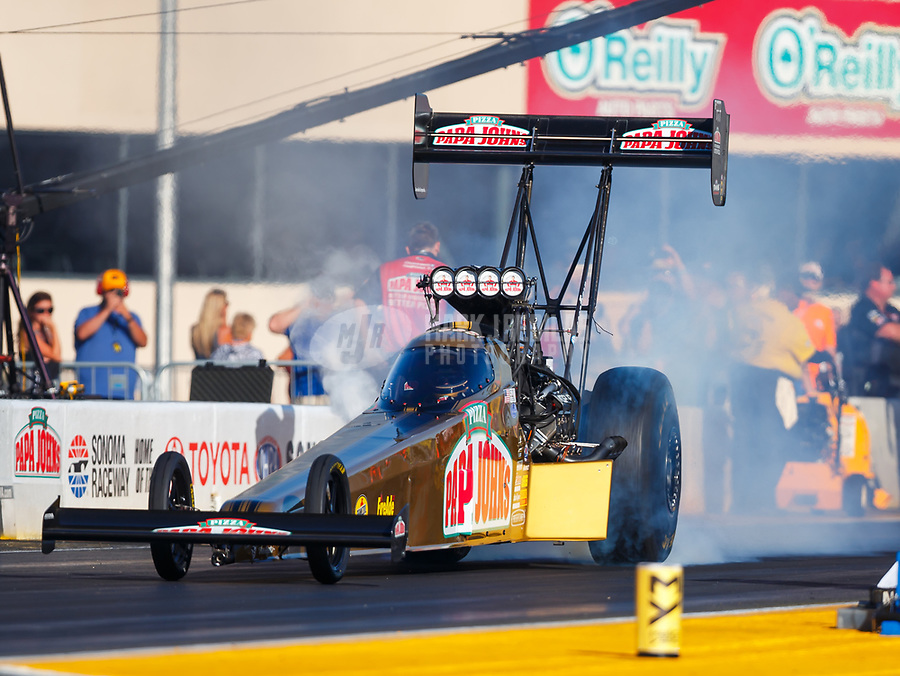 Jul 28, 2017; Sonoma, CA, USA; NHRA top fuel driver Leah Pritchett during qualifying for the Sonoma Nationals at Sonoma Raceway. Mandatory Credit: Mark J. Rebilas-USA TODAY Sports