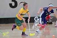 Australia&rsquo;s Alexandra Staib in action during the World Floorball Championships 2017 Qualification for Asia Oceania Region Final - Australia v Japan at ASB Sports Centre , Wellington, New Zealand on Sunday 5 February 2017.<br /> Photo by Masanori Udagawa<br /> www.photowellington.photoshelter.com.