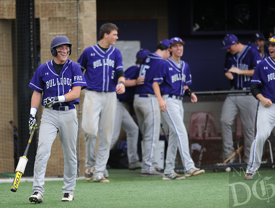 NWA Democrat-Gazette/ANDY SHUPE<br /> of Fayetteville of Little Rock Central during the inning Friday, May 15, 2015, of the Bulldogs' 10-0, run-rule-shortened win in the second round of the Class 7A state baseball tournament at Bulldog Field in Fayetteville. Visit nwadg.com/photos to see more photos from the game.