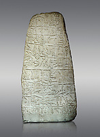 Neo Hittite Period Hieroglyphic inscription on a stone orthostat - Anatolian Civilisations Museum, Ankara, Turkey. Against a gray background.