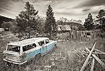 A teal Rambler cross country station wagon sits at an abandoned homestead near Blanchard, Idaho