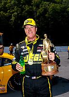 Jun 17, 2018; Bristol, TN, USA; NHRA pro stock driver Jeg Coughlin Jr celebrates after winning the Thunder Valley Nationals at Bristol Dragway. Mandatory Credit: Mark J. Rebilas-USA TODAY Sports
