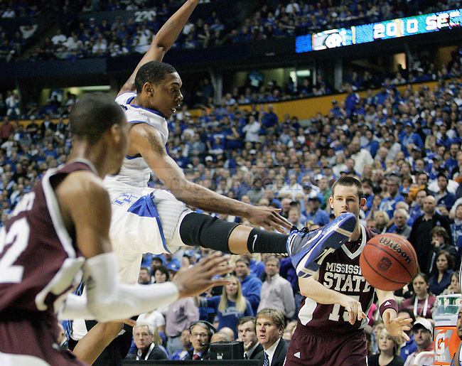 Sophomore guard Darnell Dodson tries to block a pass in the second half of UK's win 75-74 over Mississippi State  Bridgestone Arena in the SEC Finals on Sunday, March 14, 2010. Photo by Britney McIntosh | Staff