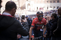 Vincenzo NIBALI (ITA/Bahrain-Merida) leaving the Plaza del Campo post-finish <br /> <br /> 13th Strade Bianche 2019 (1.UWT)<br /> One day race from Siena to Siena (184km)<br /> <br /> ©kramon