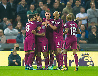 Manchester City players celebrating Raheem Sterling goal during the Premier League match between Tottenham Hotspur and Manchester City at Wembley Stadium, London, England on 14 April 2018. Photo by Andrew Aleksiejczuk / PRiME Media Images.