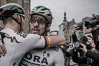 World Champion Peter Sagan (SVK/Bora-Hansgrohe) congratulated by a teammate after he won the race for a 3rd time in his career<br /> <br /> 81st Gent-Wevelgem in Flanders Fields (1.UWT)<br /> Deinze &gt; Wevelgem (251km)