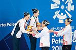 € Yukiko Inui &  Megumu Yoshida (JPN), <br /> AUGUST 28, 2018 - Artistic Swimming : <br /> Women's Duet Technical Routine Medal Ceremony <br /> at Gelora Bung Karno Aquatic Center <br /> during the 2018 Jakarta Palembang Asian Games <br /> in Jakarta, Indonesia. <br /> (Photo by Naoki Morita/AFLO SPORT)