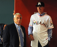 Pitcher Andrew Heaney (Oklahoma State) the number nine overall pick to the Miami Marlins and Jack McKeon (special advisor to the Owner ) during the MLB Draft on Monday June 04,2012 at Studio 42 in Secaucus, NJ.   (Tomasso DeRosa/ Four Seam Images)