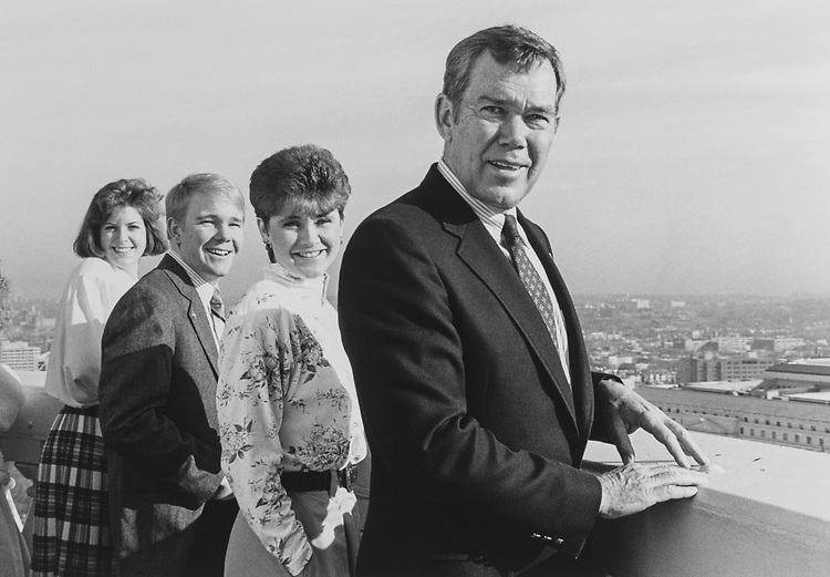 View from the top of the Capitol Hill dome. Rep. Craig L. Thomas, R-Wyo., with a few of his staff Lori Laudien (Legislative Assistant), Jim Willix (Intern) Karen Robitaille Stroh (Legislative Assistant) on Feb. 1, 1990. (Photo by Maureen Keating/CQ Roll Call via Getty Images)