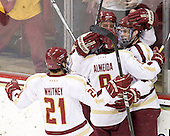 Steven Whitney (BC - 21), Bill Arnold (BC - 24), Barry Almeida (BC - 9), Paul Carey (BC - 22) - The Boston College Eagles defeated the University of Massachusetts-Amherst Minutemen 3-2 to take their Hockey East Quarterfinal matchup in two games on Saturday, March 10, 2012, at Kelley Rink in Conte Forum in Chestnut Hill, Massachusetts.