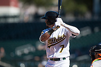 Mesa Solar Sox right fielder Luis Barrera (7), of the Oakland Athletics organization, at bat during an Arizona Fall League game against the Glendale Desert Dogs at Sloan Park on October 27, 2018 in Mesa, Arizona. Glendale defeated Mesa 7-6. (Zachary Lucy/Four Seam Images)