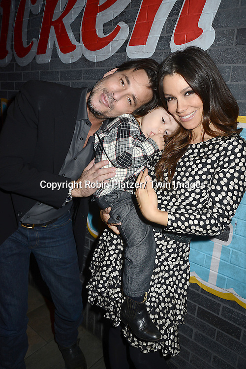 "Ricky Paull Goldin and son  Kai and fiancee Gretta Monahan  attends the Ricky Paull Goldin premiere party and fundraiser for his new HGTV show ""Spontaneous Construction"" which will air on February 15, 2013. The party was on February 10, 2013 at Guy's American Kitchen in New York City."