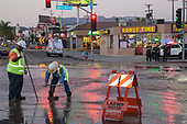 Water main break at Santa Monica Blvd. and HIghland in Hollywood on Oct 27, 2014.