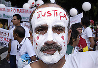 A man during prostest agains violence  in Belem, Para, in the heart of the Brazilian Amazon, on January 27, 2009, on the first day of the World Social Forum.