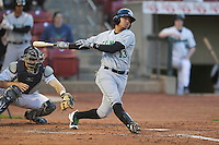 Cllinton LumberKings Rayder Ascanio (13) swings during the game against the Cedar Rapids Kernels at Veterans Memorial Stadium on April 14, 2016 in Cedar Rapids, Iowa.  The Kernels won 7-3.  (Dennis Hubbard/Four Seam Images)