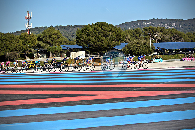 Deceuninck–Quick Step and Team Sky on the front of the peloton around Circuit Paul Ricard during Stage 3 of the 2019 Tour de La Provence, running 185.5km from Aubagne to Circuit du Castellet, France. 16th February 2019.<br /> Picture: SHIFT Active Media | Cyclefile<br /> <br /> <br /> All photos usage must carry mandatory copyright credit (© Cyclefile | SHIFT Active Media)